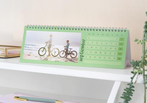 Calendario de mesa o escritorio panorámico personalizado con foto
